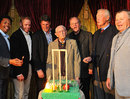 Former South African cricketers greet Norman Gordon on his 100th birthday, Johannesburg, August 6, 2011