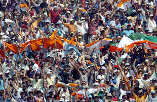 Indian fans celebrate the team's victory, India v Pakistan, 2nd Test, Kolkata, 5th day, March 20, 2005