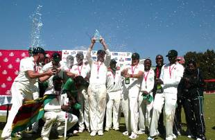 The Zimbabwe team celebrates a triumphant return to Test cricket, Bangladesh v Zimbabwe, only Test, Harare, 5th day, August 8, 2011