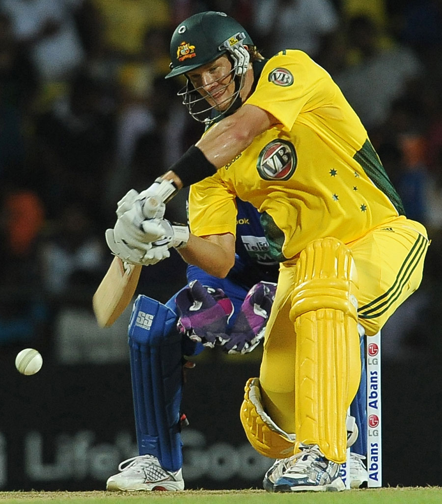 Shane Watson clubs a boundary through the leg side