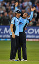 Wayne Parnell celebrates with Chris Liddle after dismissing Gareth Cross
