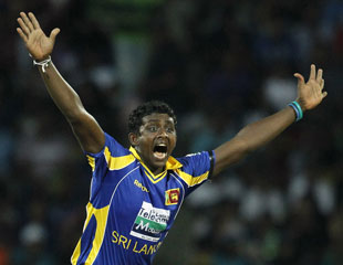 Ajantha Mendis is pumped up after bowling Brad Haddin first ball, Sri Lanka v Australia, 2nd Twenty20, Pallekele, August 8, 2011