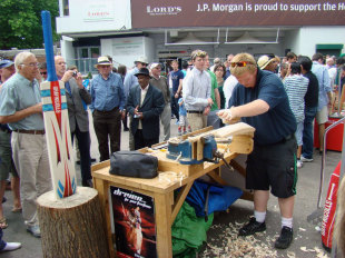 A bat-making demonstration outside Lord's by Gray-Nicolls