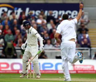 Tim Bresnan continued his fine form and produced a superb delivery to remove Rahul Dravid