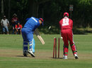 Sherwin Ganga completes his hat-trick by bowling Hamza Hotak, Afghanistan v Trinidad & Tobago XI, Summer Festival, 1st match, King City, August 11, 2011