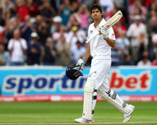 Alastair Cook brings up his 250, England v India, 3rd npower Test, Edgbaston, 3rd day, August 12, 2011
