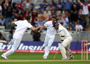 Jimmy Anderson celebrates as Virender Sehwag bags a king pair, England v India, 3rd npower Test, Edgbaston, 3rd day, August 12, 2011