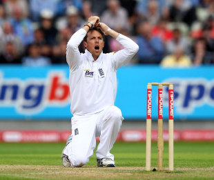 Graeme Swann is gutted after being denied an lbw appeal against Gautam Gambhir, England v India, 3rd npower Test, Edgbaston, 3rd day, August 12, 2011