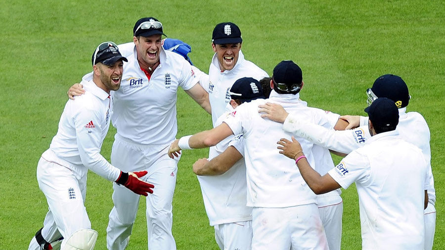 A joyous England team soon after the victory