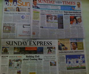 India's dethroning as the World No. 1 hits the front pages back home, August 14, 2011