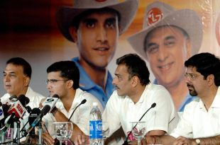 Sunil Gavaskar, Sourav Ganguly, Ravi Shastri and Krishnamachari Srikkanth at a press conference