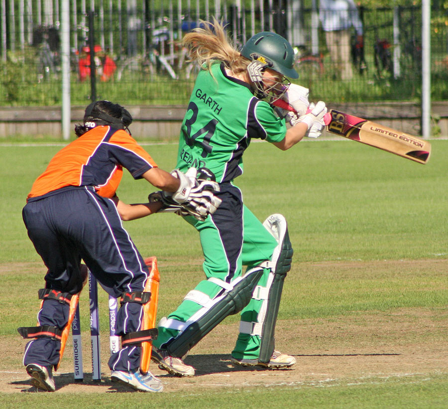 Ireland opener Kim Garth hits the ball towards the off side