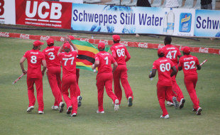 Zimbabwe on a lap of honour after securing the ODI series against Bangladesh