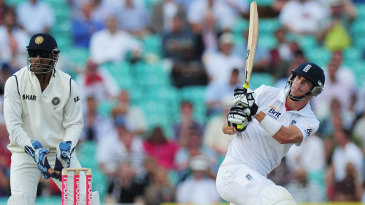 Kevin Pietersen watches his switch-hit go to the boundary
