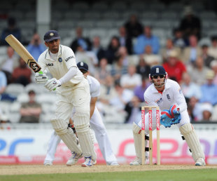 Rahul Dravid works one off his pads, England v India, 4th Test, The Oval, 4th day, August 21, 2011