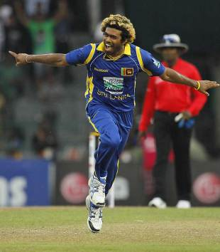 Lasith Malinga celebrates his hat-trick, Sri Lanka v Australia, 5th ODI, Colombo, August 22, 2011