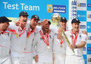 Andrew Strauss and his team-mates strike a jubilant pose, England v India, 4th Test, The Oval, 5th day, August 22, 2011