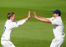 Graeme White and Darren Pattinson celebrate the fall of a Durham wicket, Nottinghamshire v Durham, Trent Bridge, 3rd day, August 24 2011