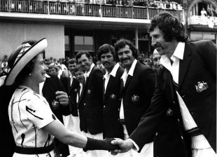 Max Walker shakes hands with the Queen, England v Australia, 2nd Test, Lord's, 1st day, July 31, 1975