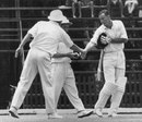Trevor Goddard is congratulated by England captain Mike Smith for reaching his maiden Test century, South Africa v England, 4th Test, Johannesburg, 5th day, January 27, 1965