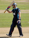 Matt Machan acknowledges the applause for his fifty, Sussex v Indians, Tour match, Hove, August 25, 2011