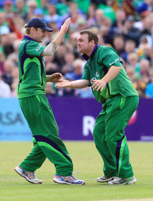 Paul Stirling celebrates the dismissal of the debutant Ben Stokes, Ireland v England, only ODI, Clontarf, August 25, 2011