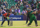 Kevin O'Brien hits out during a rapid cameo against England, only ODI, Clontarf, August 25, 2011