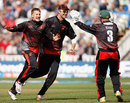 Josh Cobb's one over brought two wickets , Lancashire v Leicestershire, Friends Life t20, 1st Semi Final, Edgbaston, August 27 2011