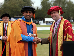 MS Dhoni was given an honorary doctorate by Leicester's De Montfort University after the Indians' tour game against Leicestershire, Leicestershire v Indians, Twenty20, Leicester, August 29, 2011