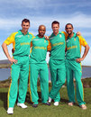 Ryan McLaren, Loots Bosman, Rusty Theron and Robin Peterson smile for the cameras, Kleinmond, August 29, 2011