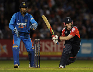 Eoin Morgan made a superb 49 to guide England, England v India, Twenty20, Old Trafford, August 31, 2011