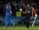 Samit Patel pumps the air as he hits the winning runs, England v India, Twenty20, Old Trafford, August 31, 2011