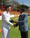 Greg Lamb is presented with his Test cap, Zimbabwe v Pakistan, only Test, Bulawayo, 1st day, September 1, 2011