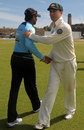 The two captains, Michael Clarke and Tillkaratne Dilshane shake hands after Test, Sri Lanka v Australia, 1st Test, Galle, 4th day, September 3, 2011