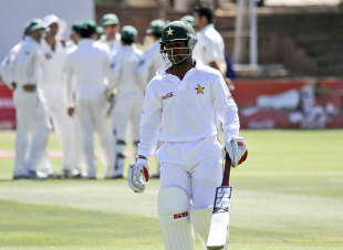 Tatenda Taibu walks back after being dismissed for 58, Zimbabwe v Pakistan, only Test, 5th day, Bulawayo, September 5, 2011