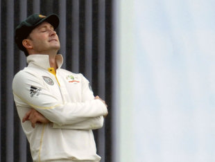 Michael Clarke reacts as the rains come down, Sri Lanka v Australia, 2nd Test, Pallekele, 5th day, September 12, 2011