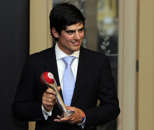 Alastair Cook poses with the ICC Test Cricketer of the Year Award, ICC Awards, London, September 12, 2011