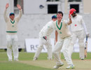 George Dockrell appeals for one of his five wickets in the match, Ireland v Canada, Intercontinental Cup, 2nd day, Dublin, September 14, 2011