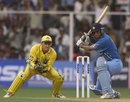 Dravid cuts during his top-scoring effort, 1st ODI, India v Australia, Bangalore