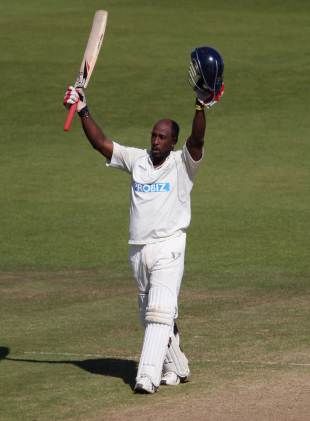 Michael Carberry celebrates his hundred against Warwickshire, Hampshire v Warwickshire, County Championship, Division One, September 15, 2011