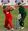 Ray Price is bowled, Zimbabwe v Pakistan, 1st Twenty20, Harare, September 16, 2011