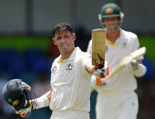 Michael Hussey celebrates his 15th Test century, Sri Lanka v Australia, 3rd Test, SSC, Colombo, 2nd day, September 17, 2011