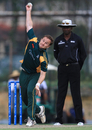 Stuart Bisson bowls for Guernsey, Guernsey v Jersey, World Cricket League Division Six, Kuala Lumpur, September 17 2011