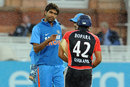 Munaf Patel talks to Ravi Bopara, England v India, 4th ODI, Lord's, September 11, 2011