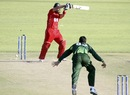 Charles Coventry is bowled by Junaid Khan, Zimbabwe v Pakistan, 2nd Twenty20, Harare, September 18, 2011