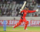 Sherwin Ganga celebrates after hitting the winning runs, Ruhuna v T&T, CLT20 qualifier, Hyderabad, September 19, 2011