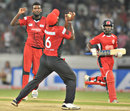 Arosh Janoda looks on as Mahela Udawatte holds a catch, Ruhuna v T&T, CLT20 qualifier, Hyderabad, September 19, 2011