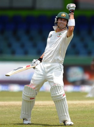 Michael Clarke celebrates a century that sealed the series, Sri Lanka v Australia, 3rd Test, Colombo, 5th day, September 20, 2011