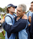 Lou Vincent hugs coach Paul Strang after Auckland's victory in the one-day final, Canterbury v Auckland, Christchurch, February 13, 2011