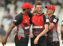 Harry Gurney is congratulated on dismissing Mahela Udawatte